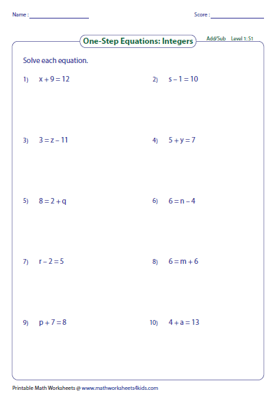 math worksheet : one step equation addition and subtraction : Solving Equations Using Addition And Subtraction Worksheets