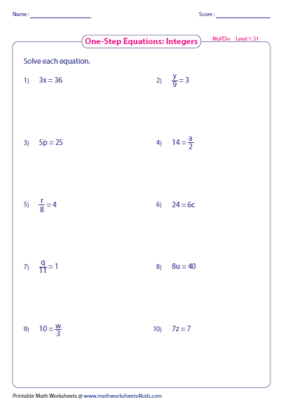 One Step Equation Multiplication and Division – Multiplying Integers Horizontal Worksheet