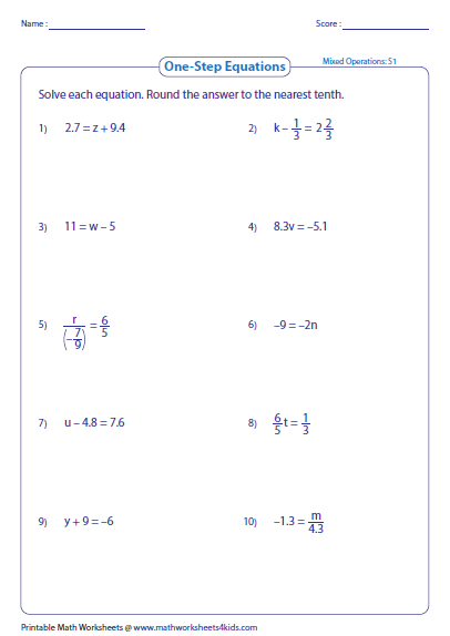 Printables Solving Equations Printable Worksheets one step equation worksheets preview