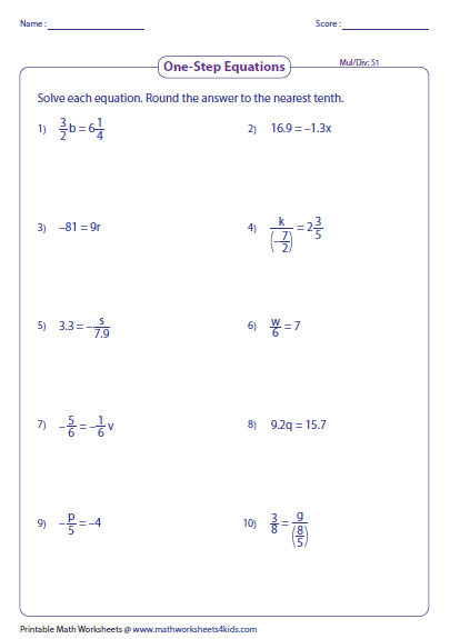 One Step Equation Multiplication And Division