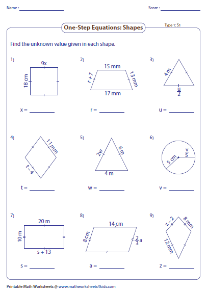 Worksheets Solving 1 Step Equations Worksheet one step equation worksheets sheet 1