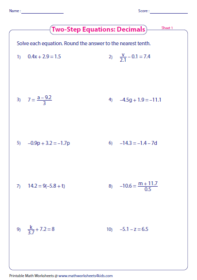 Worksheet 2 Step Algebra Equations Worksheets two step equation worksheets equations decimals preview
