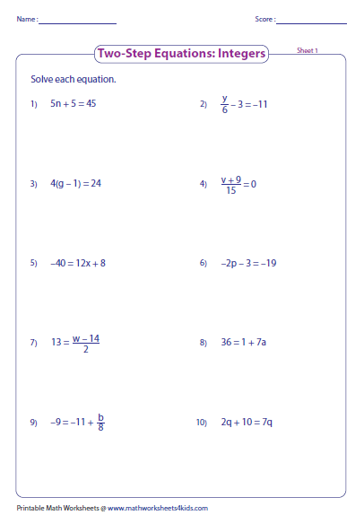 Worksheet 2 Step Algebra Equations Worksheets two step equation worksheets equations integers preview