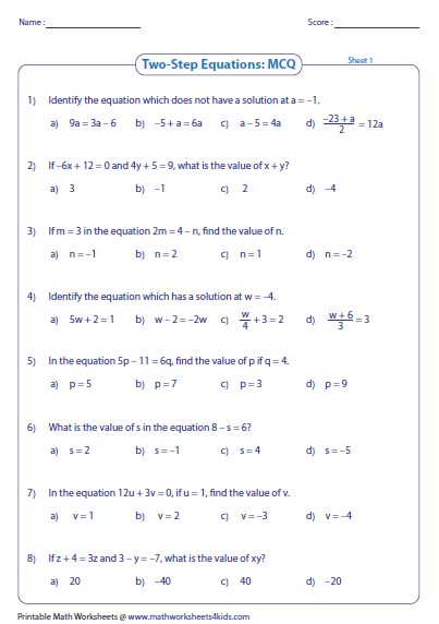 Two-Step Equation Worksheets