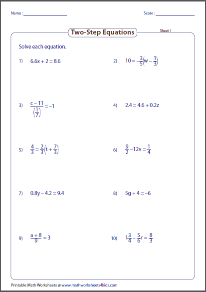 Printables 2 Step Equations Worksheet two step equation worksheets preview