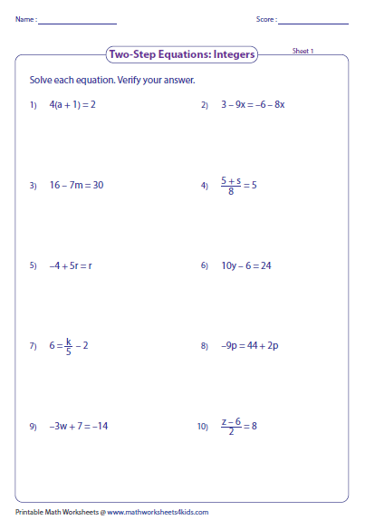 Printables Two Step Equations With Integers Worksheet two step equation worksheets integers