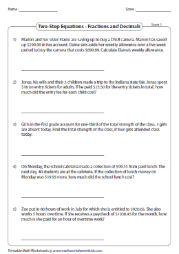 Equation Word Problems Worksheets