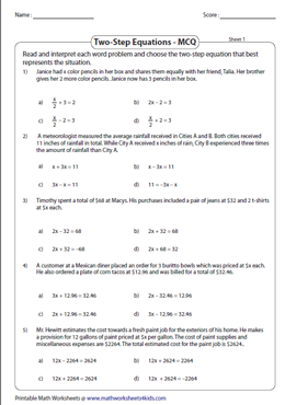 Mcq Two Step Equation Word Problems