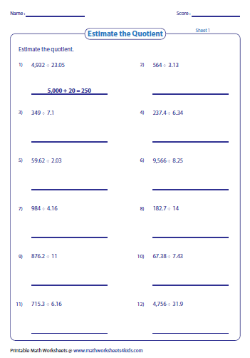mixed number to decimal worksheet