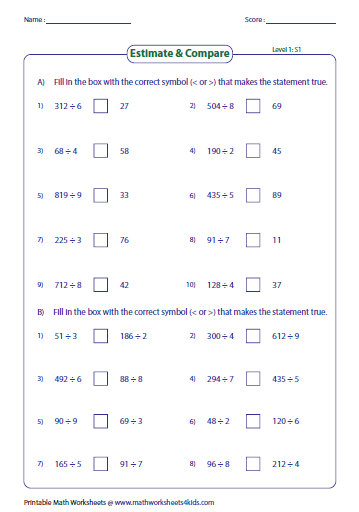 Estimating Products Amp Quotients Worksheets