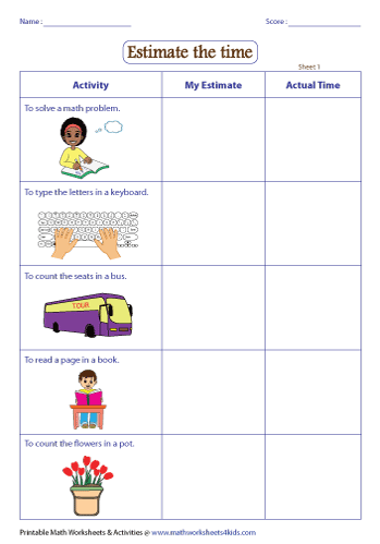 Estimating Time Worksheets