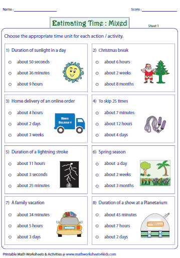 Worksheets Units Of Time Worksheets estimating time worksheets