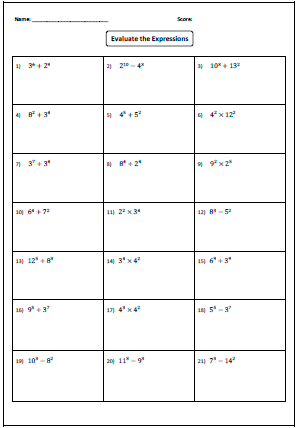 Printables Multiplying And Dividing Exponents Worksheet exponents worksheets evaluating expression
