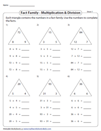 Complete the Multiplication and Division Facts