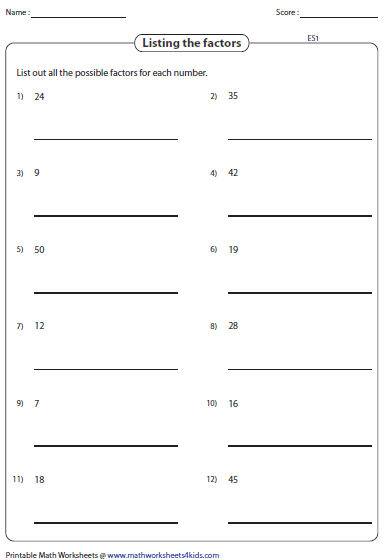 Printables Prime Factorization Worksheet factoring worksheets listing factors