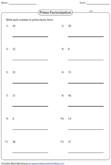 Worksheet Prime Factorization Worksheet factoring worksheets listing factors