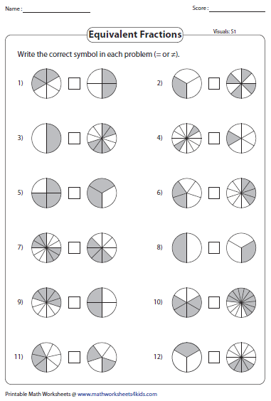 Printables Equivalent Fractions Worksheets equivalent fraction worksheets or not equivalent