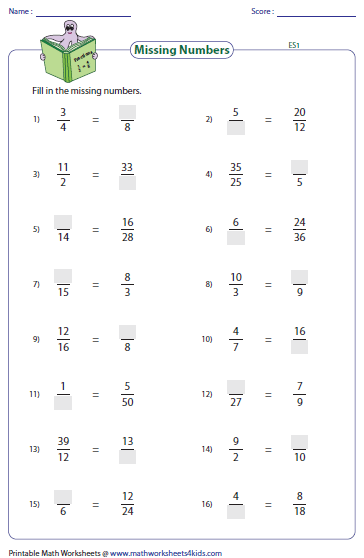 Printables Equivalent Fractions Worksheet equivalent fraction worksheets missing numbers