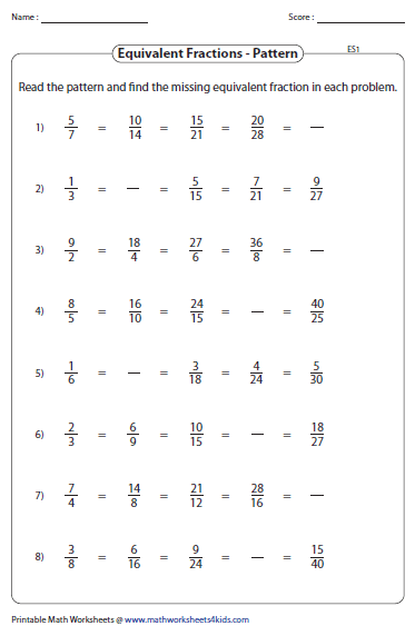 Equivalent Fractions Worksheet on Pattern Activity Worksheets