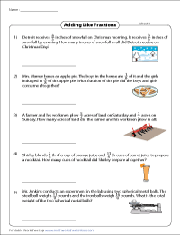 fraction word problems worksheets addition like fractions addition word problems like fractions