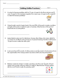 Fraction Word Problems Worksheets