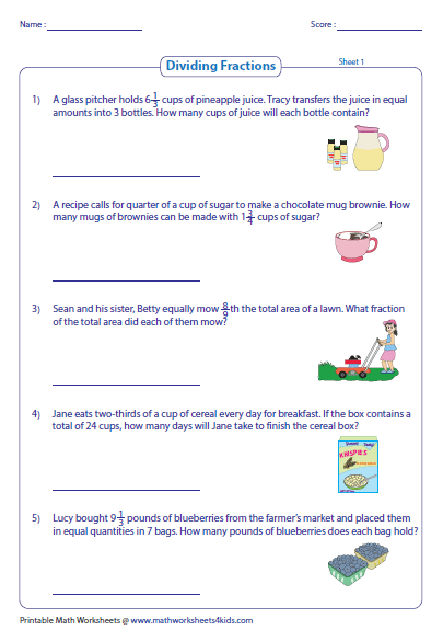 Division Of Fractions Word Problems Worksheet - Boxfirepress