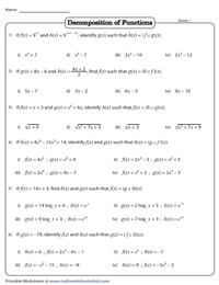 Composition Of Functions Worksheets