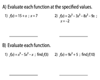 Evaluating Functions | Mixed Review - Level 1 | Easy