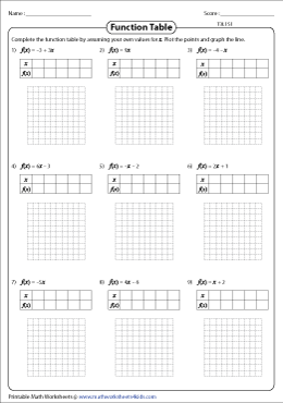 function table type3 level1 graphing linear - Graphing Linear Functions Worksheet