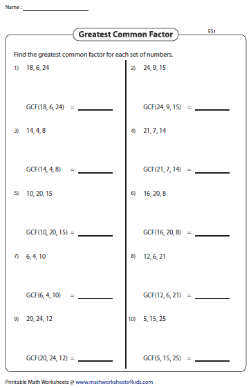 Printables Gcf Math Worksheets greatest common factor worksheets gcf of three numbers