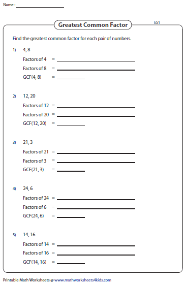 Greatest common factor worksheets 6th grade