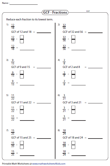 Printables Gcf Math Worksheets greatest common factor worksheets simplifying fractions