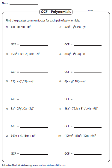 Printables Factoring Gcf Worksheet greatest common factor worksheets gcf of polynomials