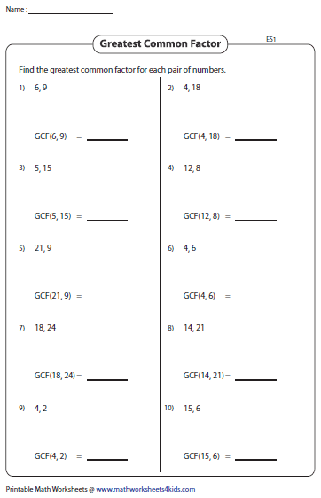 Printables Greatest Common Factor Worksheets greatest common factor worksheets gcf of two numbers