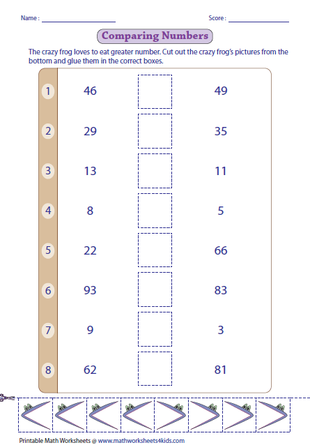 greater than less than worksheets comparing numbers cutglue activity