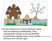 Division word problems | Halloween theme