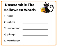 Unscramble the halloween words