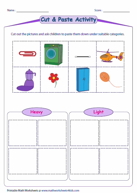 math worksheet : heavy and light worksheets : Kindergarten Capacity Worksheets
