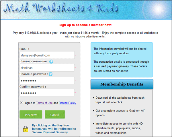 Payment Guide – Sign Up Math Worksheet