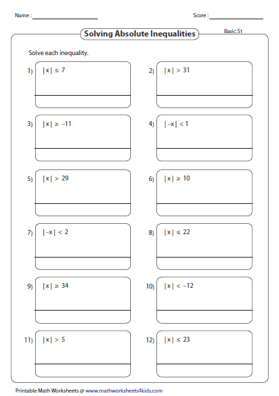 Absolute Value Inequalities worksheets