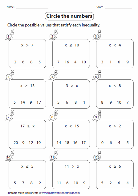 Printables Simple Algebra Problems Worksheet inequalities worksheets cirlce the correct numbers