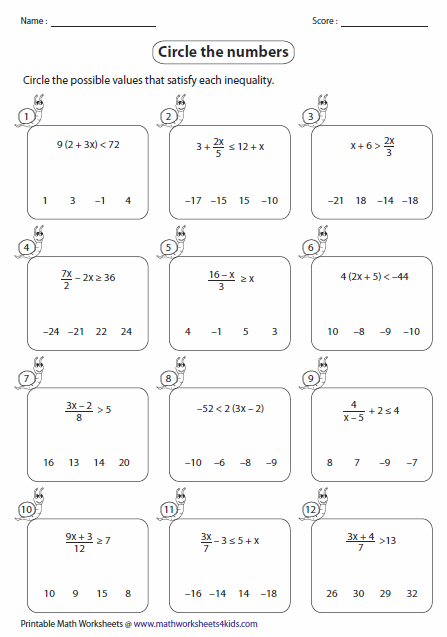Printables Inequalities Worksheet multi step inequalities worksheets identifying solutions