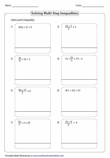 math worksheet : multi step inequalities worksheets : Inequalities Math Worksheets