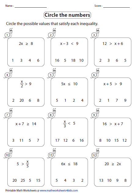 Printables Inequality Worksheets one step inequalities worksheets identifying solutions