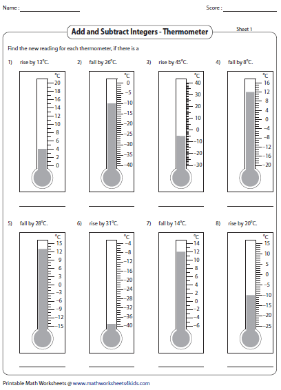 Adding and subtracting integers worksheets finding new reading of thermometer ibookread Download