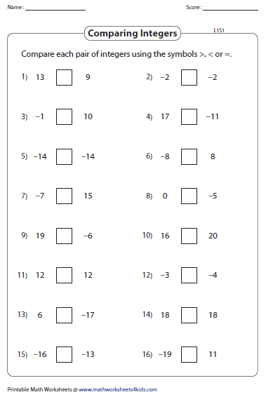 Comparing And Ordering Integers Worksheets