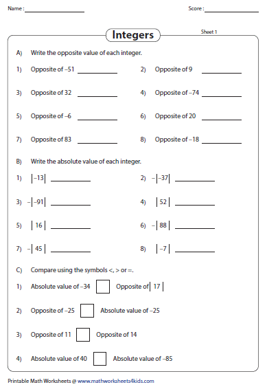 Absolute value worksheets grade 6