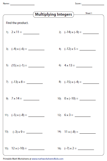 Multiplying and dividing integers worksheets multiplication of integers ibookread Download