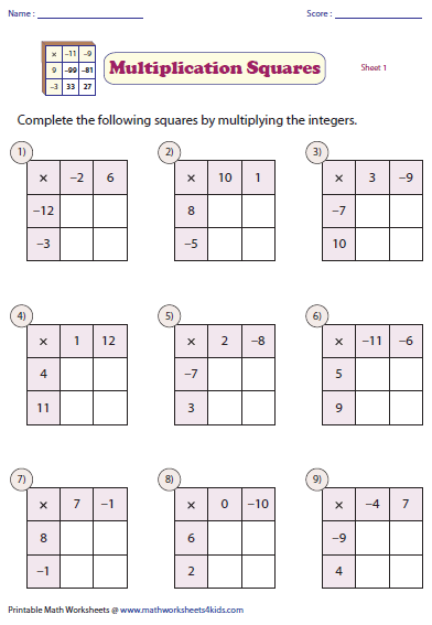 multiplying and dividing integers worksheets integers multiplication and division worksheets
