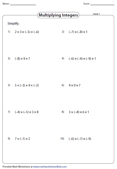 Multiplying and Dividing Integers Worksheets – Multiplication and Division Worksheet